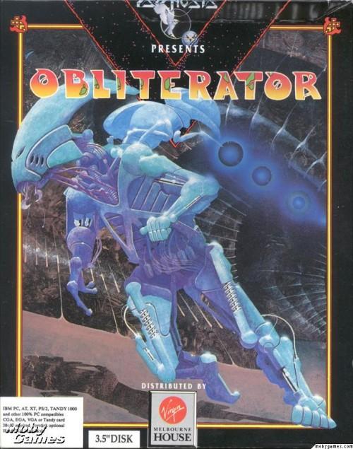 scifi illustration box cover of the game obliterator