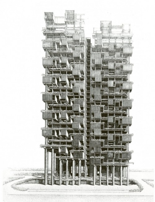 architectural drawing of a skyscraper
