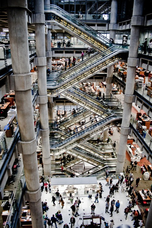 interior of the lloyd's of london building central atrium
