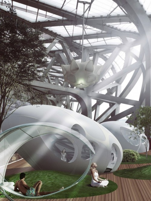 architectural rendering of a complex multi use space with gardens