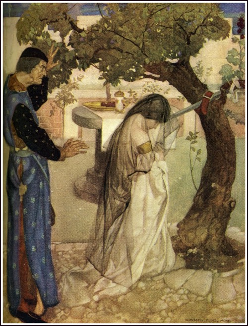 painting of a woman in a veil kneeling before a tree