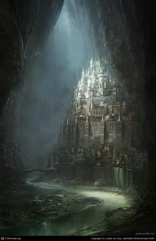 digital painting of an underground fantasy city
