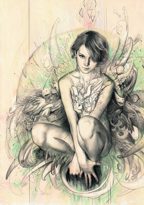 illustration of a crouching woman with short hair and tattooed chest