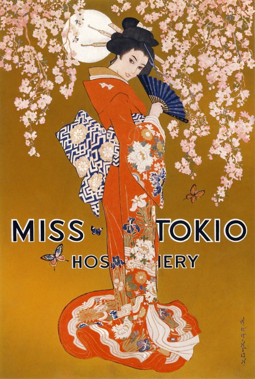 vintage poster for Miss Tokio hosier featuring woman in a kimono