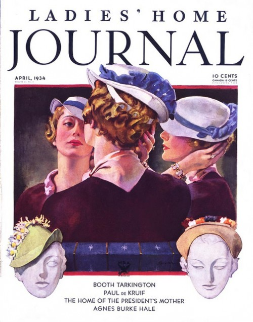 magazine cover illustration featuring woman wearing a hat