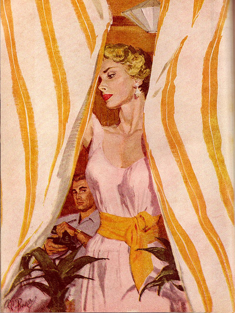 illustration of a blonde woman drawing striped curtains as a man looks on