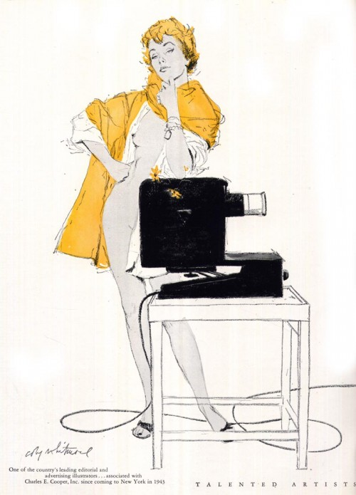 illustration of a woman in a yellow jacket standing behind a projector