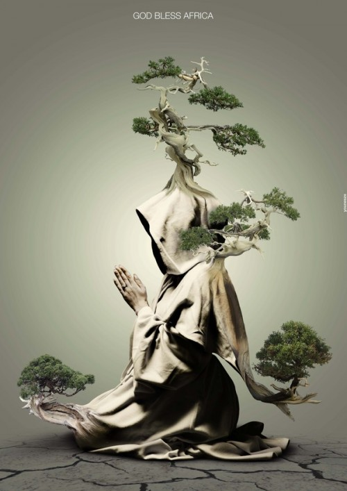 surreal illustration of praying monk with trees growing out of robes