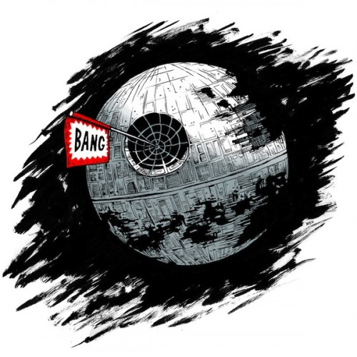 funny illustration of the death star from star wars with a bang! sign
