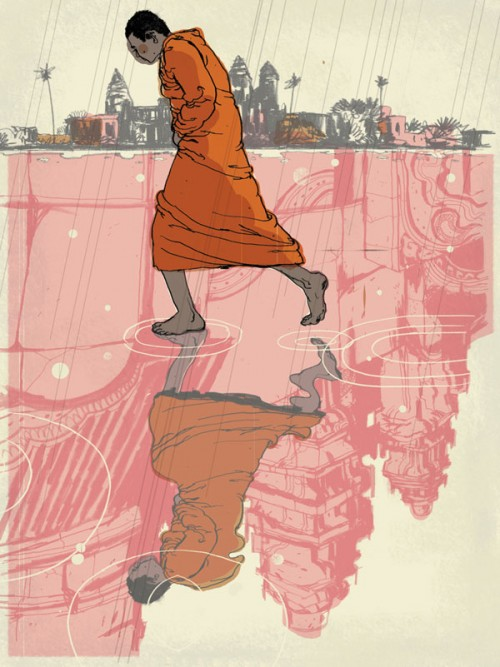 illustration of a buddhist monk walking across a reflective puddle of water