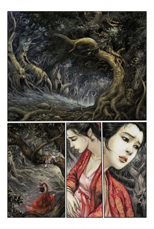 comic featuring a woman ina kimono in a dark forest