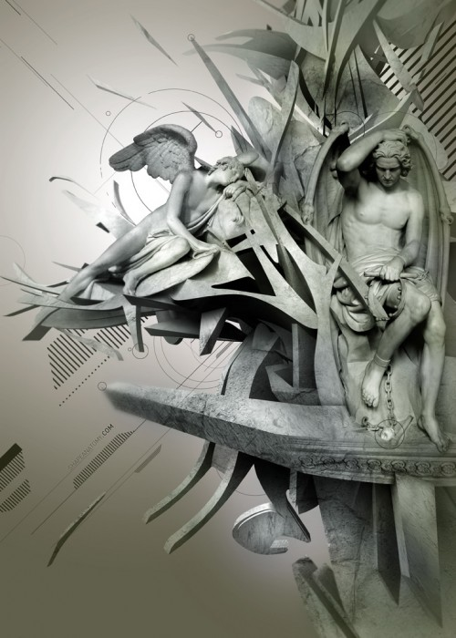 Collage picture mixing photos of sculptures of angels and abstract CG shapes