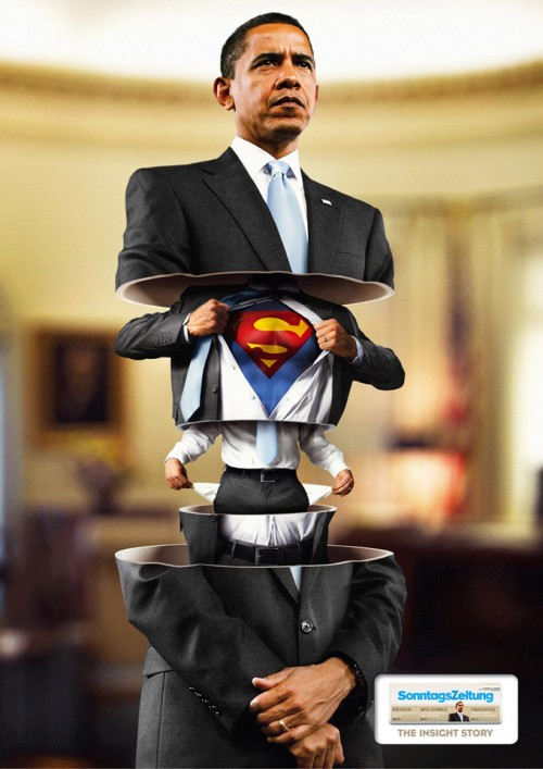 Ad for a newspaper featuring Barack Obama as a Matrioshka doll