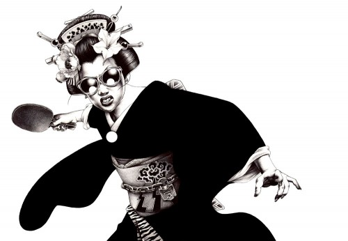 black & white illustration of a geisha with a sword wearing sunglasses