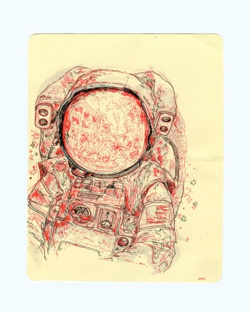 pen & ink illustration of an astronaut