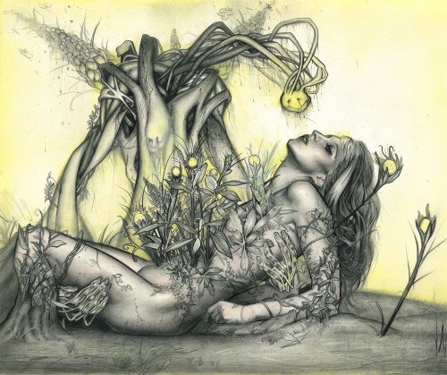 illustration of woman with plants growing out of her body