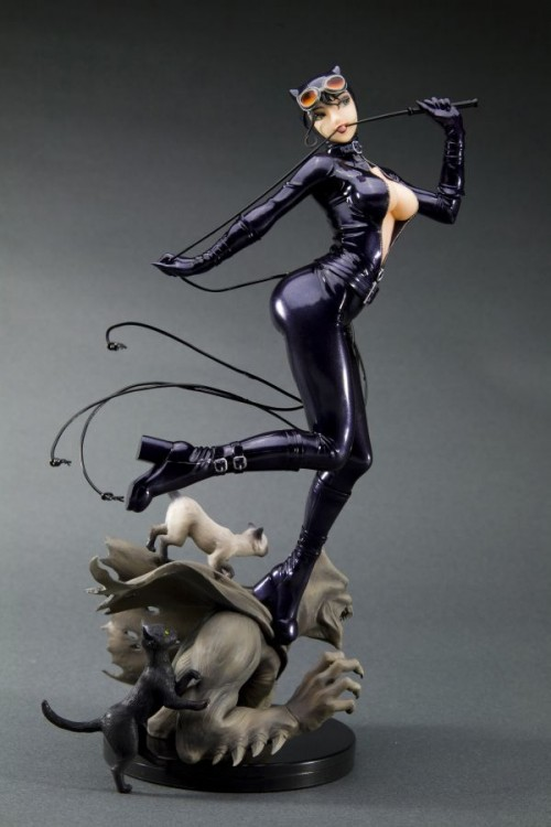 side view of catwoman statue