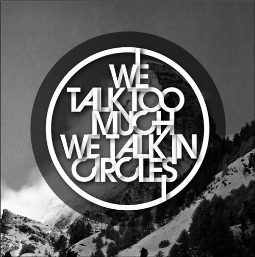 typographical design superimposed over mountain scene