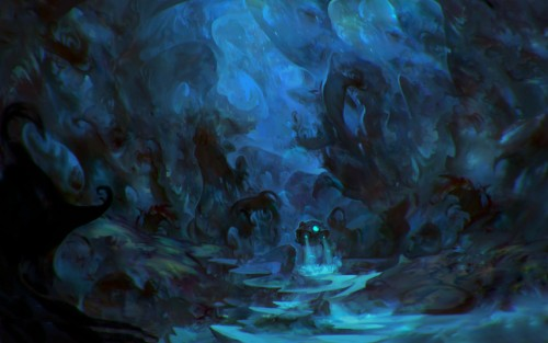 digital painting pf a submarine in an underwater cave