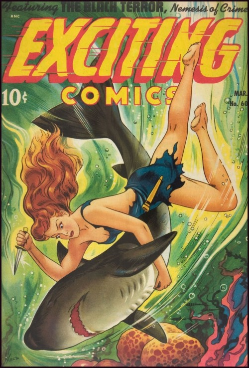 cover to Exciting Comics featuring a woman attacking a shark with a knife