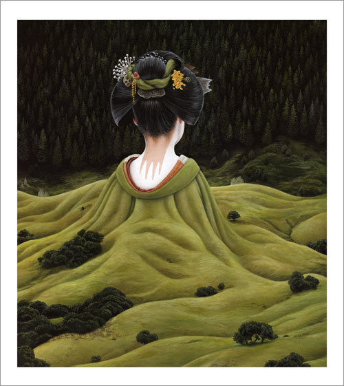 surreal illustration of a woman's kimono as a landscape