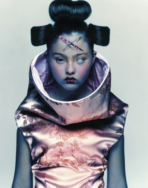 fashion photograph of Devon Aoki wearing a futuristic kimono