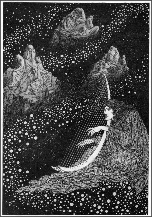 black & white illustration by sindey sime of a man in a starfield playing a harp