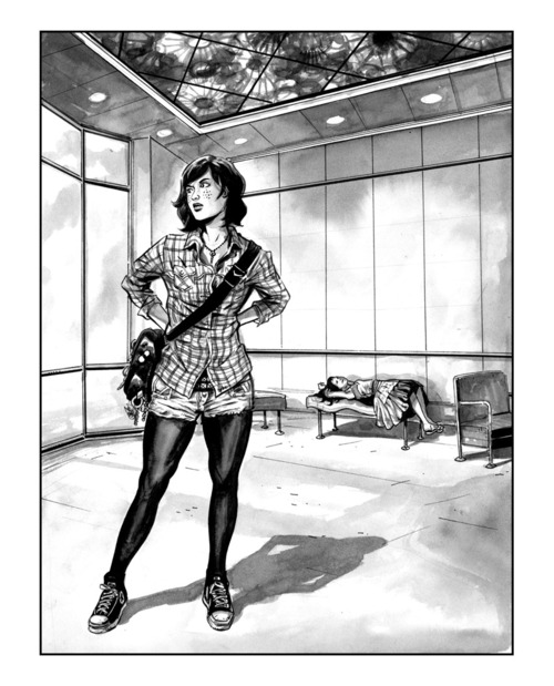 black & white pen & ink drawing of a woman in a lobby