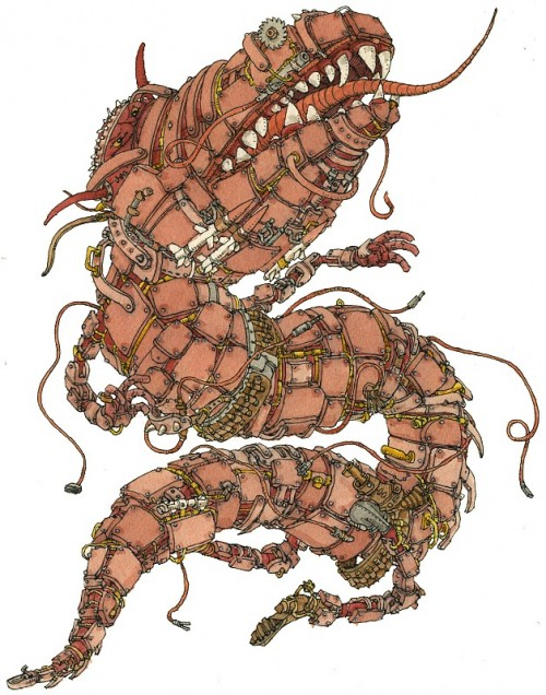 illustration of a serpentine monster made of many parts