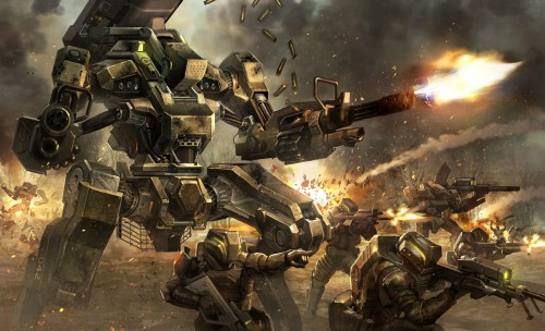 battle scene of mech robot and soldiers