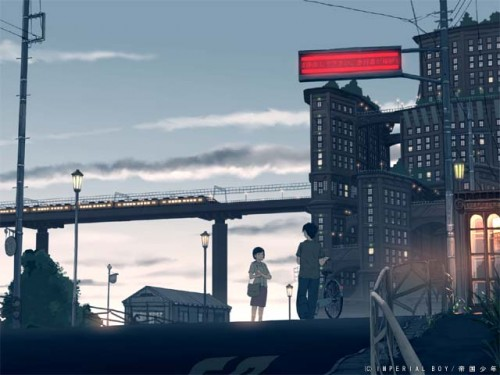 Two japanese schoolchildren on a street at sunset near an overhead rail