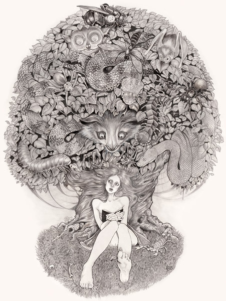 black & white illustration of a woman and a tree of monsters