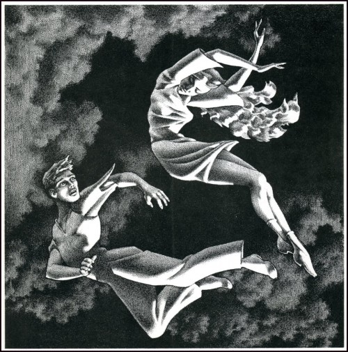 black & white illustration of two figures flying through clouds