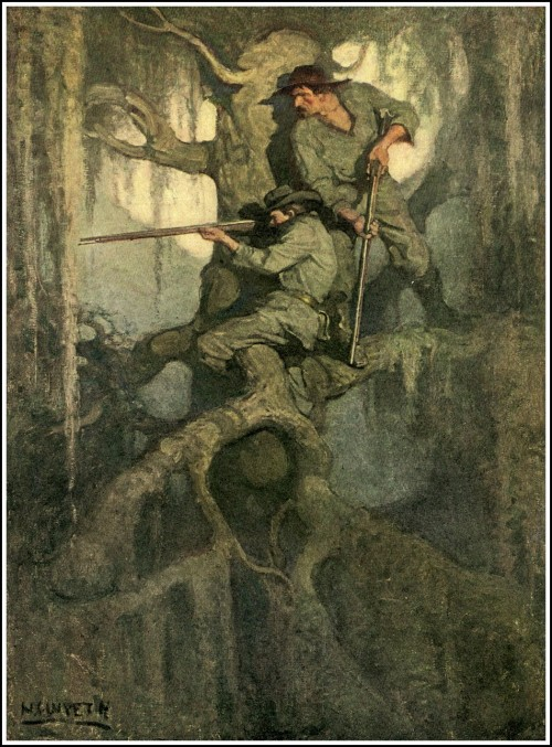 painting by nc wyeth of two sharpshooters hiding in a tree