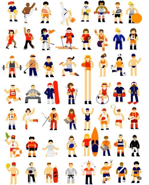 illustration of several sportspeople