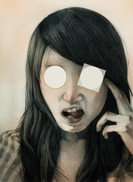 self portrait of a woman making a face, with eyes obscured by overlaid graphic elements