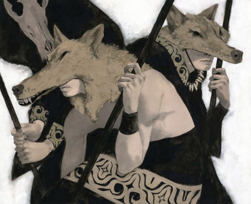 illustration of warriors with wolf headgarb
