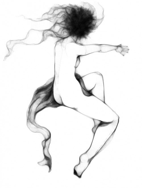 black & white digital sketch of a nude woman and a drape of cloth