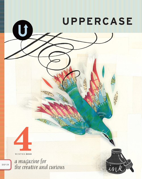 cover to uppercase magazine featuring diving bird