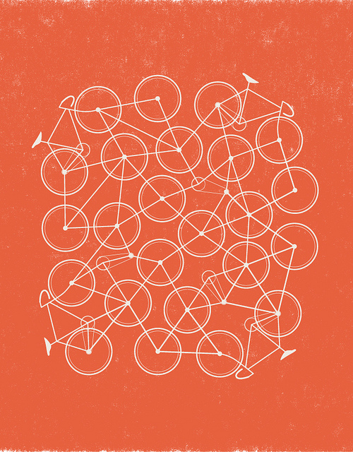 graphic illustration of a tangle of bicycles