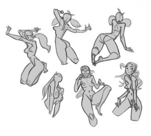 grey digital sketches of nude women