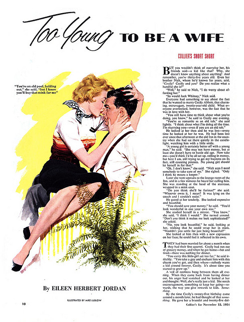 editorial magazine illustration of a woman in a man's lap