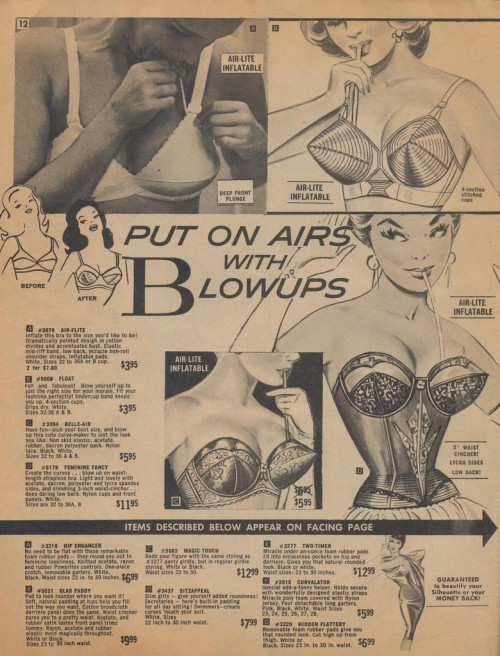 Vintage ad for corset and bra with blow-up enhancers