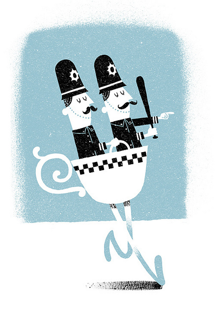 funny illustration of two policemen in a walking teacup