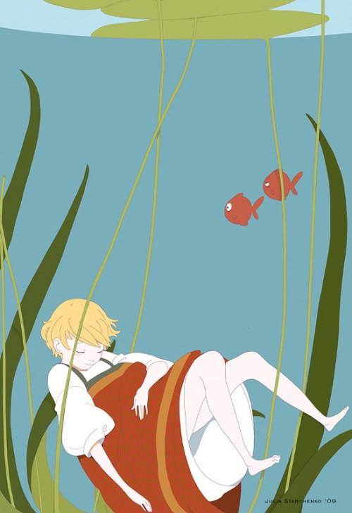 illustration of a woman sleeping amongst seaweed