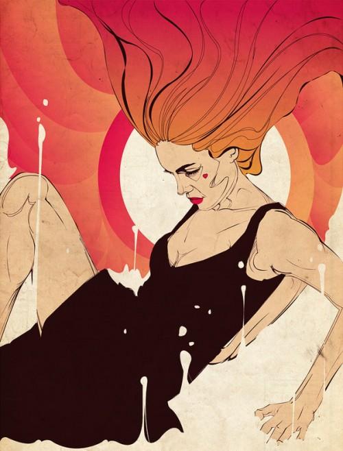 illustration of readheaded woman in black dress