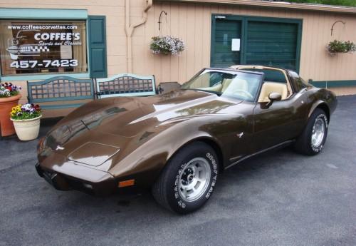 photograph of a 1979 brown corvette