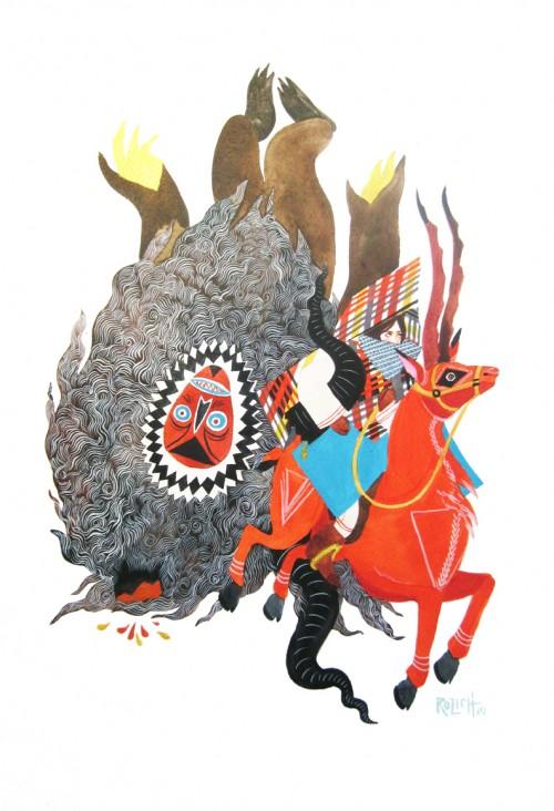 surreal illustration of david and goliath