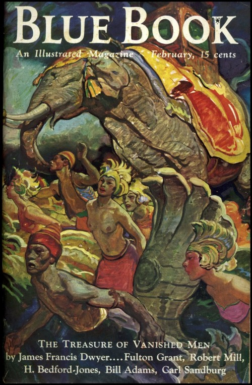 cover to blue book magazine featyring elephants and people
