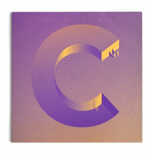 surreal minimal illustration of a c shape with small figures